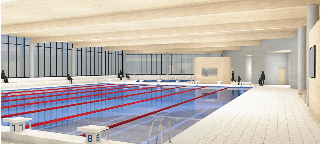 Illustrasjon av planlagt svømmebasseng.